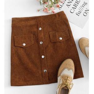 Dresses & Skirts - Brown Corduroy Mini Skirt